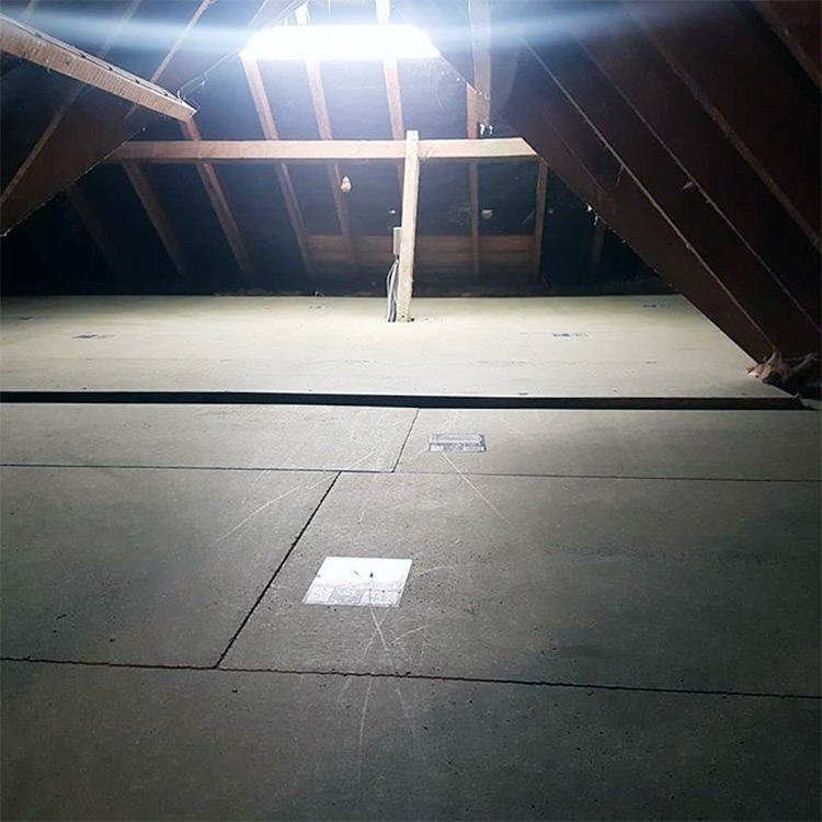 Attic with loft insulation and loft board applied