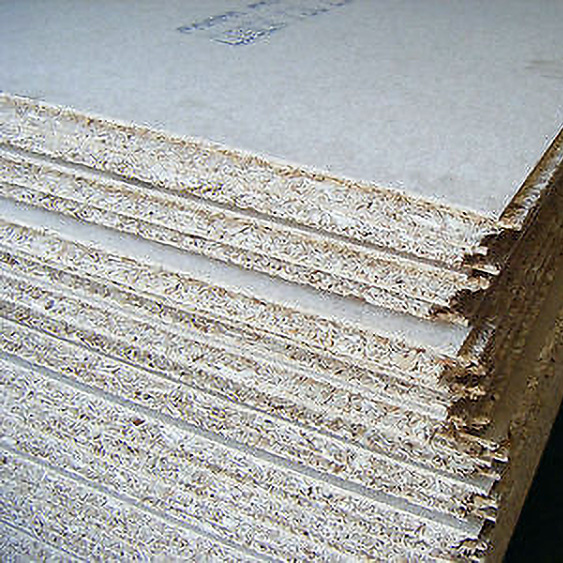 Stack of chipboard loft board