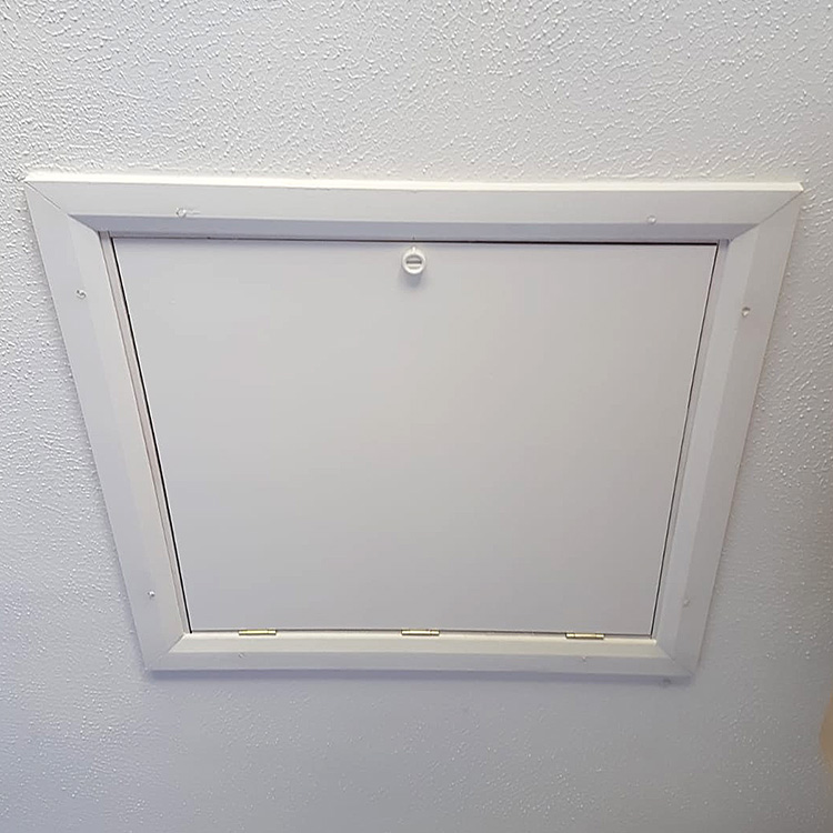 Closed white hatch door
