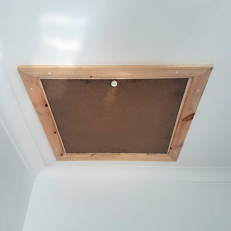 Closed wooden loft hatch