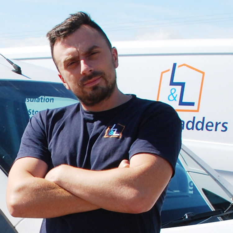 Josh team profile with Loft and ladders branding on t-shirt